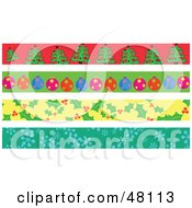 Digital Collage Of Christmas Tree Ornament Holly And Snowflake Borders