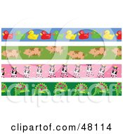 Digital Collage Of Rubber Ducky Pig Cow And Dinosaur Borders
