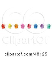 Royalty Free RF Clipart Illustration Of A Border Of Colorful Easter Eggs On White by Prawny