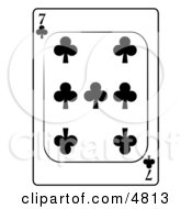 Seven7 Of Clubs Playing Card Clipart