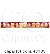 Royalty Free RF Clipart Illustration Of A Border Of Frothy Beer Mugs On Red by Prawny