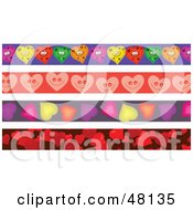 Royalty Free RF Clipart Illustration Of A Digital Collage Of Heart Borders by Prawny