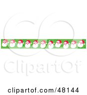 Royalty Free RF Clipart Illustration Of A Border Of Santas On Green by Prawny
