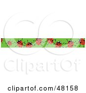 Royalty Free RF Clipart Illustration Of A Border Of Red Ladybugs On Green by Prawny