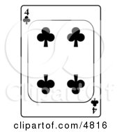 Four4 Of Clubs Playing Card