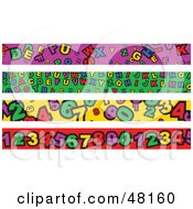 Royalty Free RF Clipart Illustration Of A Digital Collage Of Alphabet And Number Borders