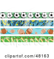 Royalty Free RF Clipart Illustration Of A Digital Collage Of Sports Borders by Prawny