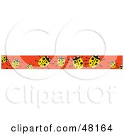 Royalty Free RF Clipart Illustration Of A Border Of Yellow Ladybugs On Orange by Prawny
