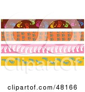 Royalty Free RF Clipart Illustration Of A Digital Collage Of Hand Paw And Foot Print Borders