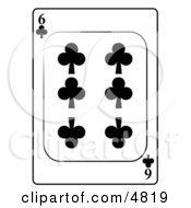 Six6 Of Clubs Playing Card Clipart