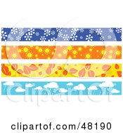 Royalty Free RF Clipart Illustration Of A Digital Collage Of Seasonal Borders by Prawny