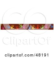 Royalty Free RF Clipart Illustration Of A Border Of Colorful Hand Prints On Red by Prawny