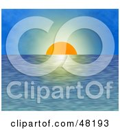 Royalty Free RF Clipart Illustration Of The Orange Sun Setting Over Rippling Waters Against A Blue Sky