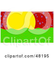 Royalty Free RF Clipart Illustration Of A Yellow Sun Over Green Water With Purple Stars In A Red Sky by Prawny