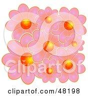Royalty Free RF Clipart Illustration Of A Cluster Of Pink Flowers With Bright Orange Centers by Prawny