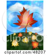 Royalty Free RF Clipart Illustration Of A Leaf Shaped Tree On A Hill With Fallen Foliage On The Ground