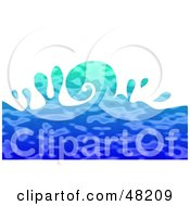 Royalty Free RF Clipart Illustration Of A Curling Blue Rippling Ocean Wave On White