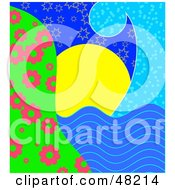 Royalty Free RF Clipart Illustration Of A Blue Wave Framing A Scene Of The Sun Setting Over The Water