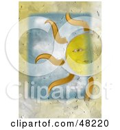 Royalty Free RF Clipart Illustration Of A Textured Sun Face Background
