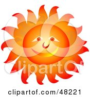 Royalty Free RF Clipart Illustration Of A Smiley Sun Face With Blazing Hot Rays