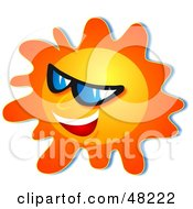 Royalty Free RF Clipart Illustration Of An Outgoing Sun Wearing Shades