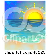 Royalty Free RF Clipart Illustration Of A Beautiful Sunset Over The Ocean With The Surf Washing Up On The Shore