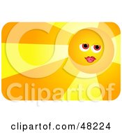 Royalty Free RF Clipart Illustration Of A Pretty Female Sun Face Wearing Lipstick And Casting Light by Prawny