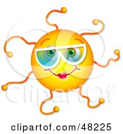 Royalty Free RF Clipart Illustration Of A Friendly Girl Sun Face Wearing Shades