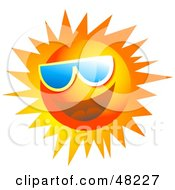 Royalty Free RF Clipart Illustration Of A Jolly Sun Face Wearing Shades