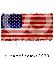 Royalty Free RF Clipart Illustration Of A Grungy American Flag Background Bordered In White