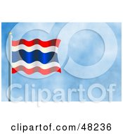 Royalty Free RF Clipart Illustration Of A Waving Thailand Flag Against A Blue Sky by Prawny