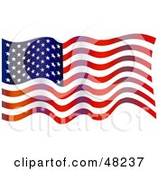 Royalty Free RF Clipart Illustration Of An American Flag Waving