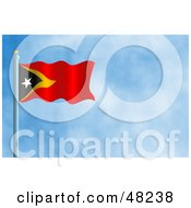 Royalty Free RF Clipart Illustration Of A Waving Timor Leste Flag Against A Blue Sky by Prawny