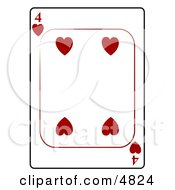 Four4 Of Hearts Playing Card Clipart by Dennis Cox