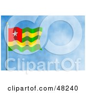 Royalty Free RF Clipart Illustration Of A Waving Togo Flag Against A Blue Sky by Prawny