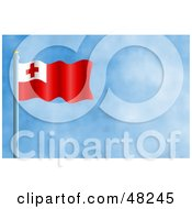 Royalty Free RF Clipart Illustration Of A Waving Tonga Flag Against A Blue Sky by Prawny
