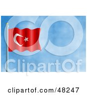 Royalty Free RF Clipart Illustration Of A Waving Turkey Flag Against A Blue Sky by Prawny