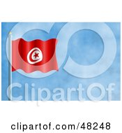 Royalty Free RF Clipart Illustration Of A Waving Tunisia Flag Against A Blue Sky by Prawny