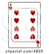 Eight8 Of Hearts Playing Card Clipart by Dennis Cox
