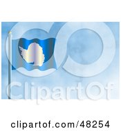 Royalty Free RF Clipart Illustration Of A Waving Antarctica Flag Against A Blue Sky