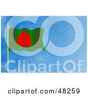 Royalty Free RF Clipart Illustration Of A Waving Bangladesh Flag Against A Blue Sky