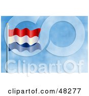 Royalty Free RF Clipart Illustration Of A Waving Holland Flag Against A Blue Sky