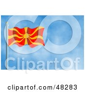 Royalty Free RF Clipart Illustration Of A Waving Macedonia Flag Against A Blue Sky