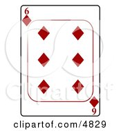 Six6 Of Diamonds Playing Card Clipart