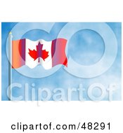 Royalty Free RF Clipart Illustration Of A Waving Canada Flag Against A Blue Sky