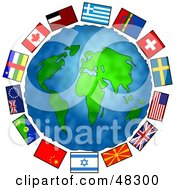 Royalty Free RF Clipart Illustration Of Earth Surrounded By World Flags by Prawny