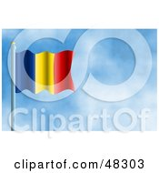 Royalty Free RF Clipart Illustration Of A Waving Romania Flag Against A Blue Sky