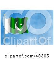 Royalty Free RF Clipart Illustration Of A Waving Pakistan Flag Against A Blue Sky
