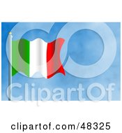 Royalty Free RF Clipart Illustration Of A Waving Italy Flag Against A Blue Sky