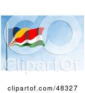 Royalty Free RF Clipart Illustration Of A Waving Seychelles Flag Against A Blue Sky